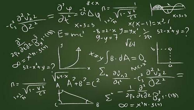 Matematik. Grøn skoletavle med ligninger