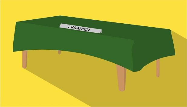 Eksamen - det grønne bord. Bord med grøn dug